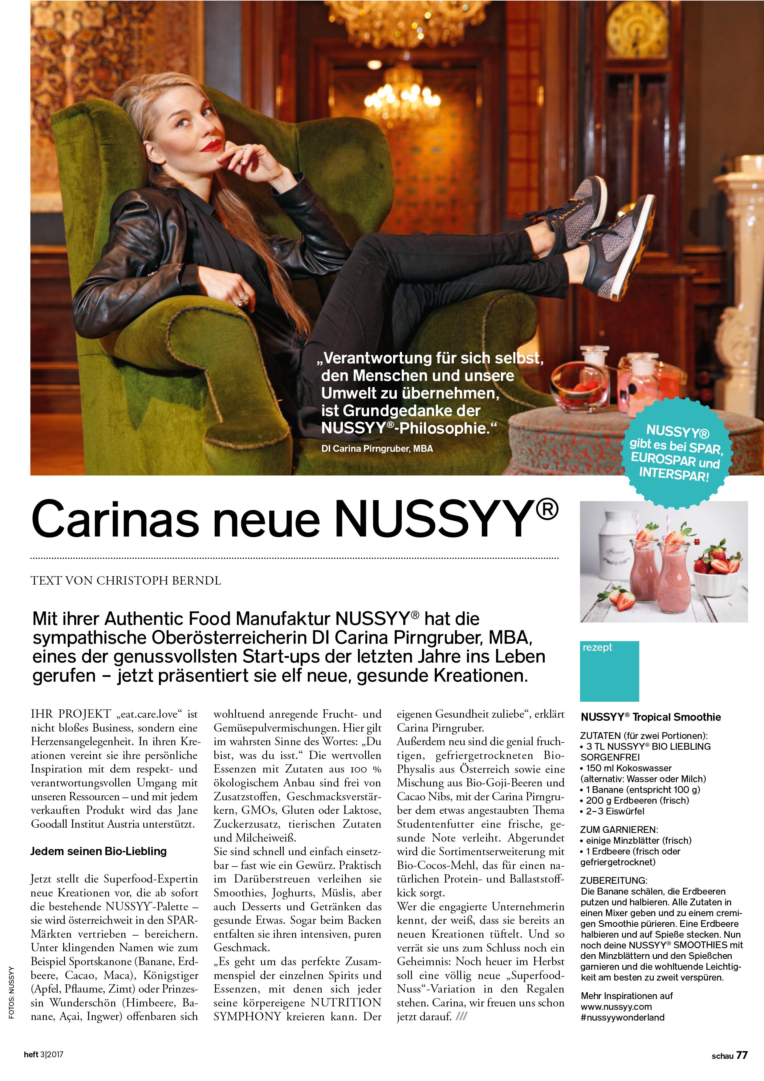 NUSSYY® im SCHAU Magazin BERICHT